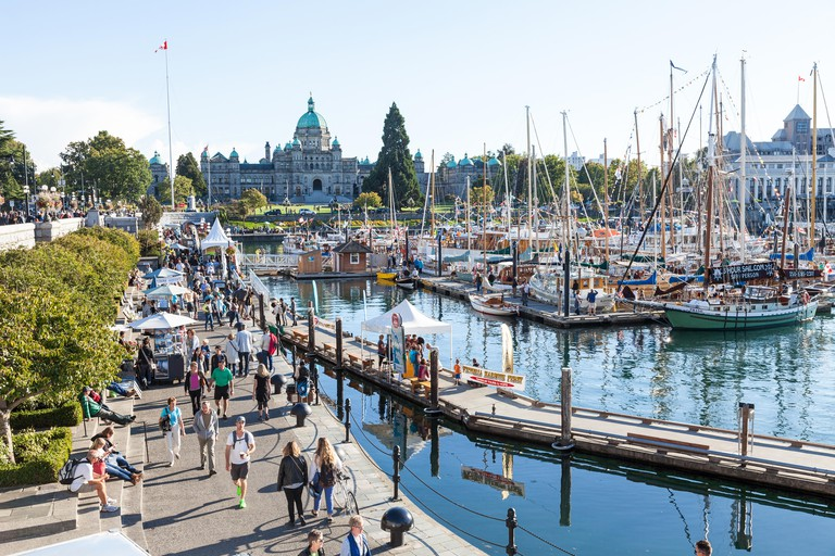 The inner harbour harbor Victoria boats boat capital of British Columbia BC Vancouver Island Canada North America