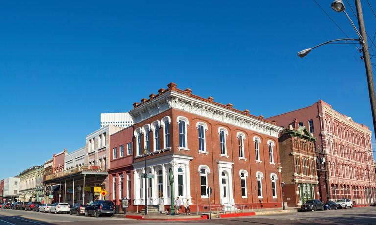 Texas, Galveston, The Strand Historic District, corner The Strand & Kempner
