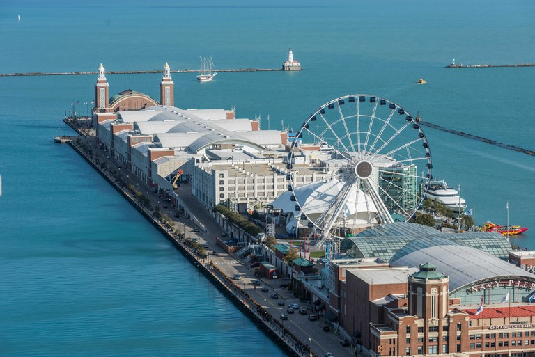 Aerial view of Navy Pier and Lake Michigan.