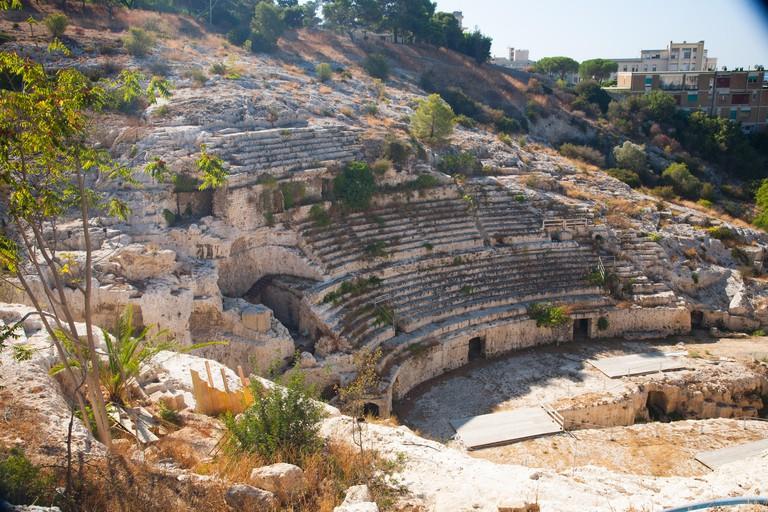 Second century AD Roman Amphitheatre in Cagliari (Calaris), Sardinia, Italy