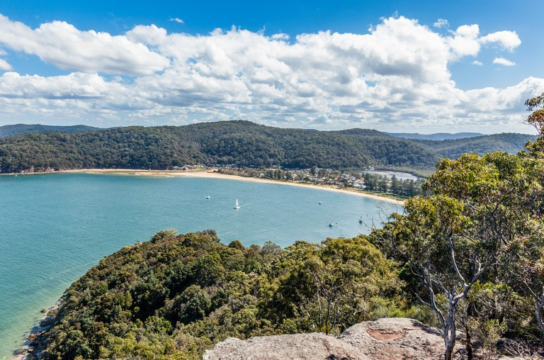 Australia, New South Wales, Central Coast, Brisbane Water National Park, view of the Hawkesbury River; brisk Bay and Patonga Beach from Warrah lookout