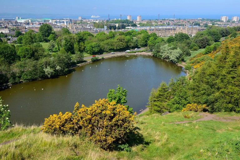 St Margaret's Loch in Holyrood Park, Edinburgh, Scotland