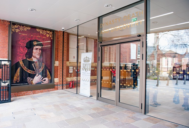 The entrance of The King Richard III Visitor Centre in Leicester City. Dynasty, Death and Discovery.