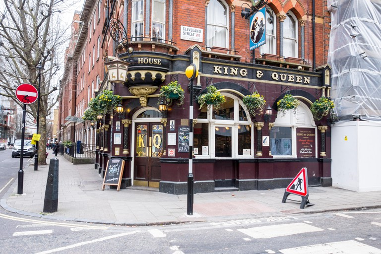 King & Queen pub public house exterior, Cleveland Street, London, UK