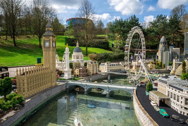 Big Ben and London Eye models in Legoland Windsor miniland, England
