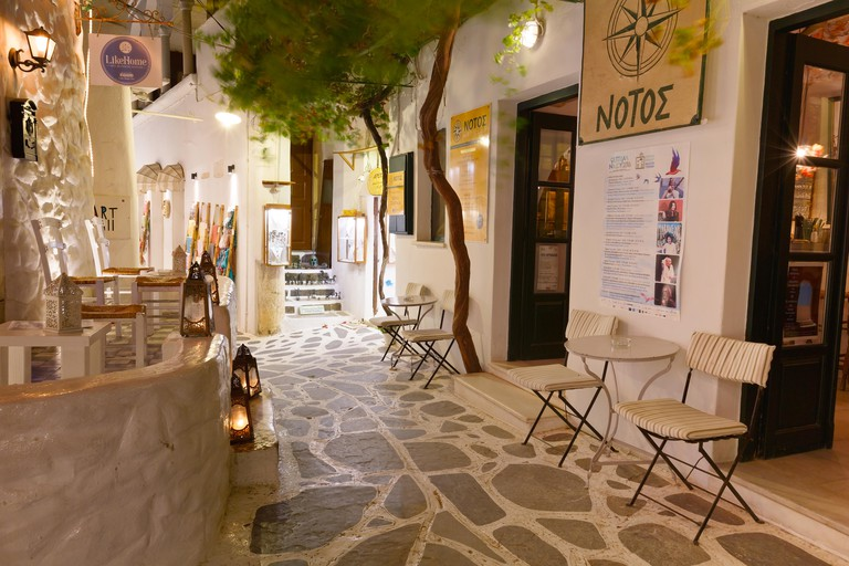 Bars in the old town of Naxos.