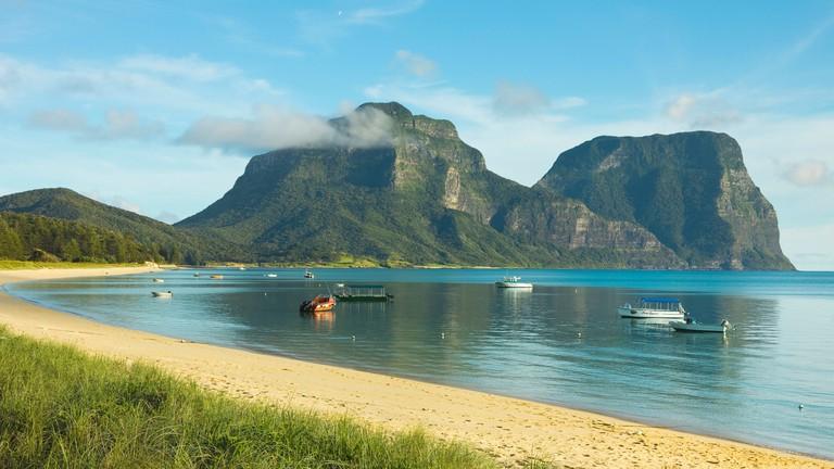 Mount Lidgbird and Mount Gower, Tasman Sea, Lord Howe Island, New South Wales, Australia