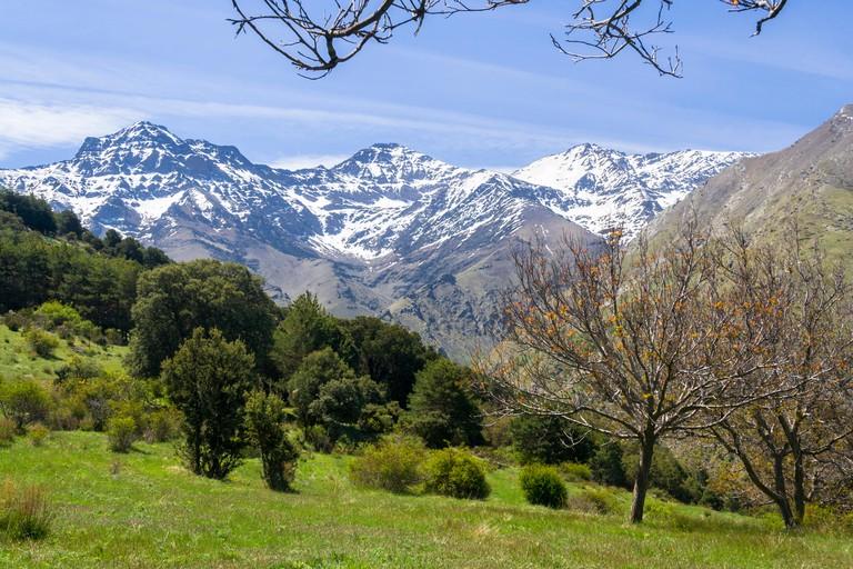 Sierra Nevada. Mulhacen, 3.478,6 m, the highest mountain in the Iberian Peninsula, La Alcazaba, 3.371 m (left ) and La Caldera, 3.226 m (right) peaks