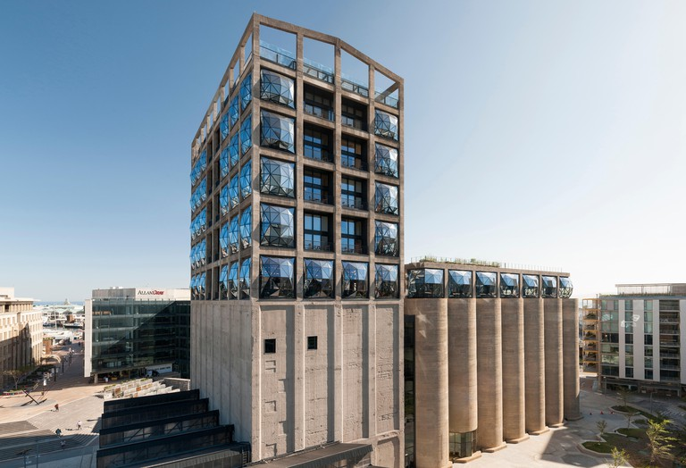 The Zeitz MOCAA (Museum of Contemporary African Art) and the Silo Hotel building in the Cape Town Waterfront.