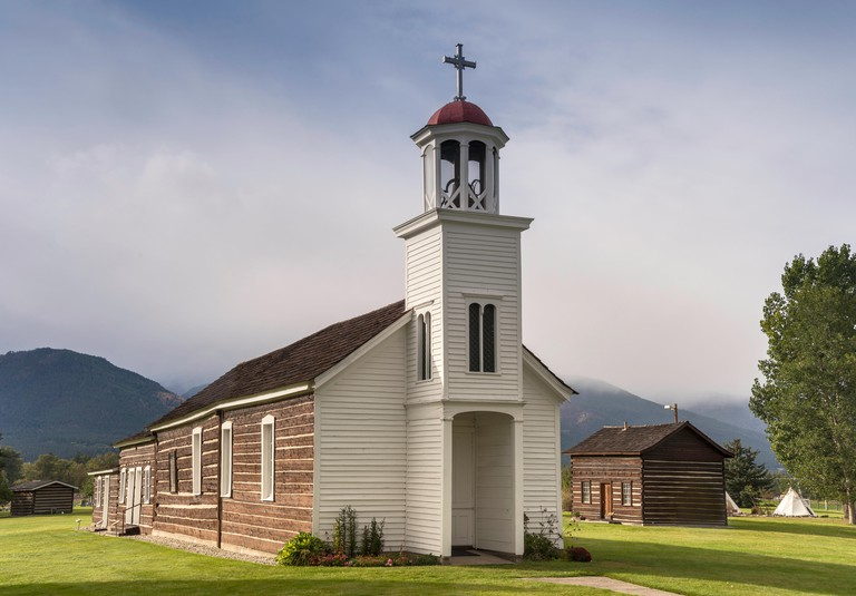 Catholic Church at St Mary's Mission, Stevensville, Bitterroot River Valley, Montana, USA