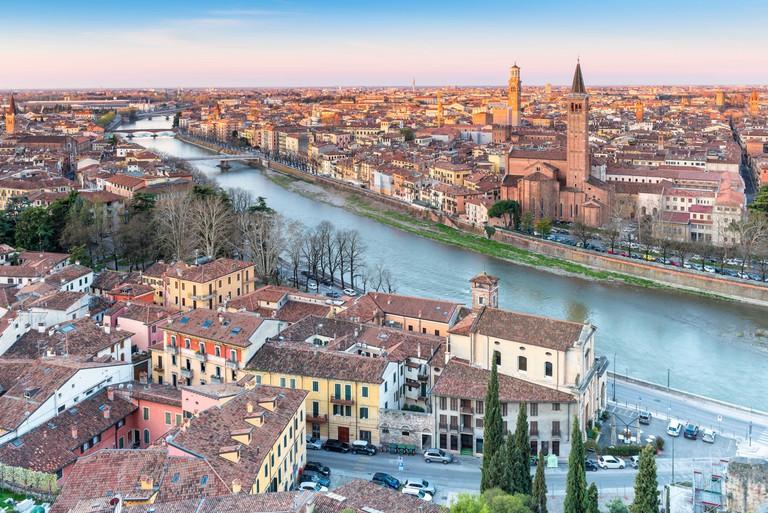 Verona at sunrise, Europe, Italy, Veneto, Verona