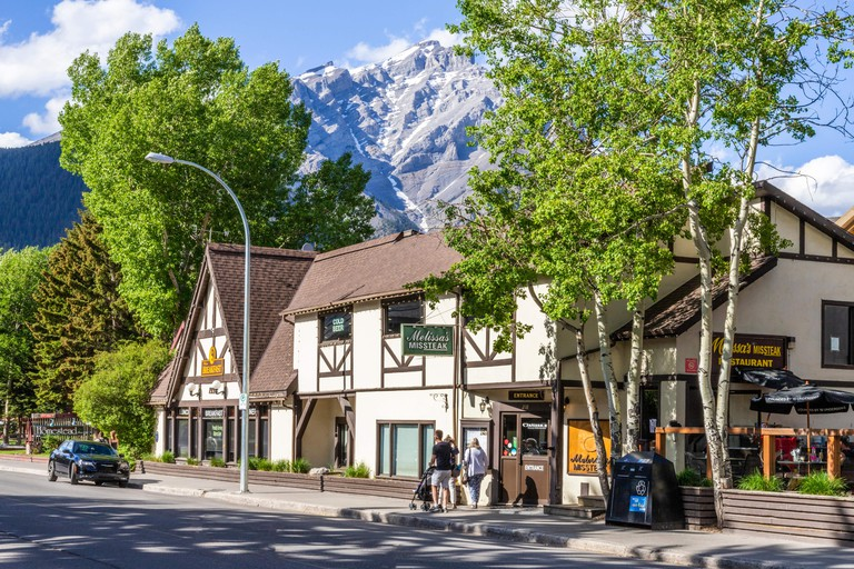 Melissas Missteak Steak House in the town of Banff, Alberta, Canada - The building dates back to 1928.