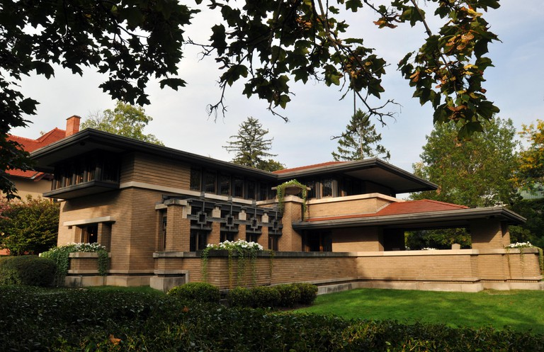 The Meyer May House in Grand Rapids, Michigan. The Prairie-style home, designed by architect Frank Lloyd Wright, was completed in 1909.