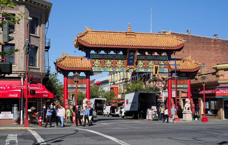 Entrance to Chinatown, Victoria, Vancouver Island, British Columbia, Canada