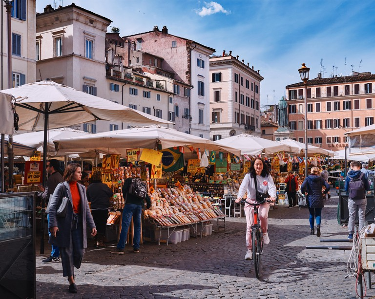 Italy, Rome, March 8/ 2018 traditional outdoor food market of Campo de Fiori (fields of flower)