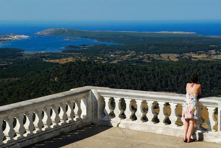 Spain Balearic Islands Menorca a terrace near Holy Virigin of Monte Toro Sanctuary