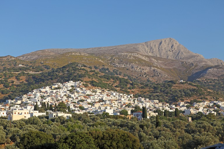 mountain village Filoti Island at the foot of Mount Zas, of Naxos, Cyclades, Aegean Islands, Greece. Image shot 2010. Exact date unknown.