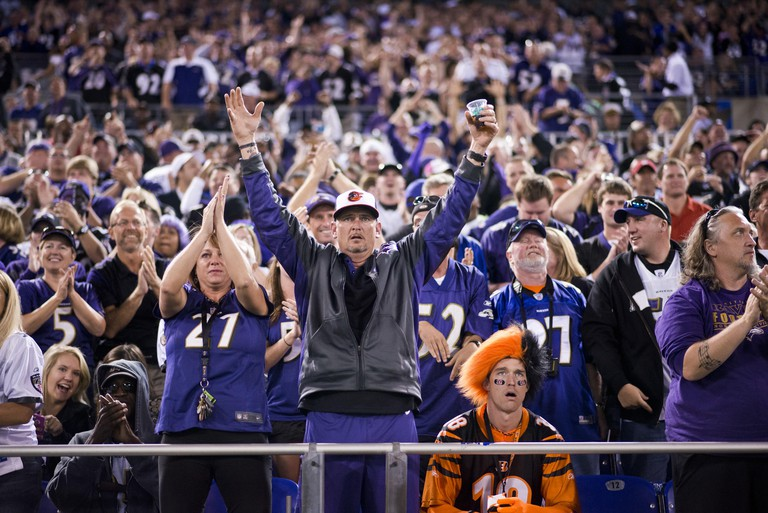 M&T Bank Stadium erupts after Baltimore Ravens safety Ed Reed intercepts a Cincinnati Bengals for a touchdown. Lone Bengals fan Jason Ricart, from Columbus Ohio, has trouble feeling as festive. Baltimore beat Cincinnati 44-13 September 10, 2012. At half t