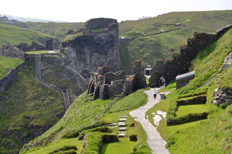 Ruins at Tintagel Castle in Cornwall, UK