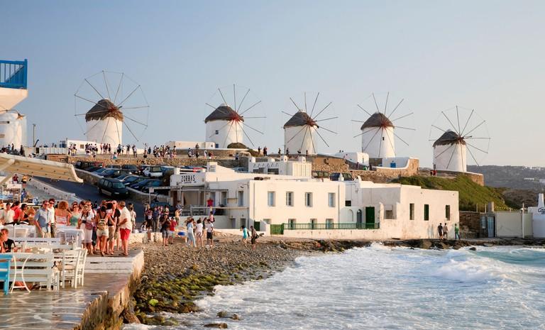 Greece, Cyclades, Mykonos, Mykonos Town, Outdoor Cafe in Little Venice Area
