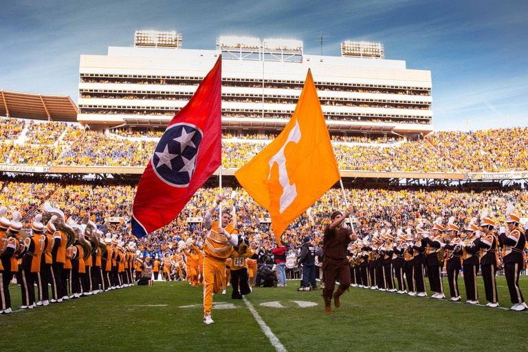 November 15, 2014:Tennessee Volunteers take the field before the NCAA Football game between the University of Tennessee Volunteers and the University of Kentucky Wildcats at Neyland Stadium in Knoxville, TN