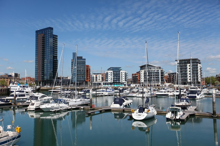 Ocean Village Marina Southampton including the new Admiral's Quay development (left of photo). Image shot 05/2015. Exact date unknown.