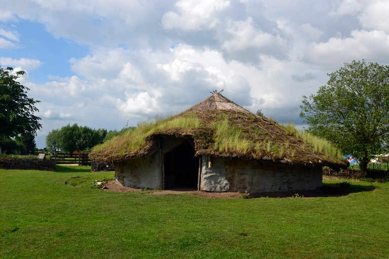 Iron Age hut at Flag Fen archaeology park, Peterborough, Cambridgeshire, UK