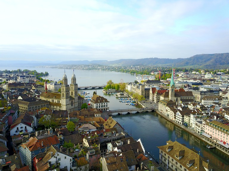 Aerial view of Zurich old town, Switzerland