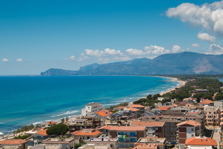 Sea landscape with Sperlonga, Lazio, Italy