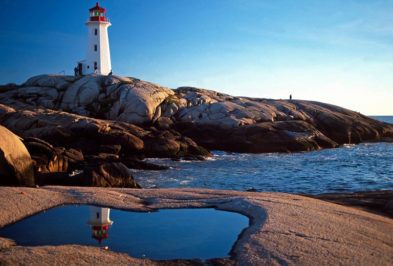 Peggy's Cove Lighthouse and reflection,Nova Scotia