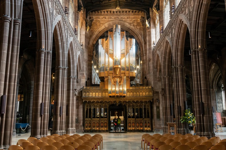 Nave of Manchester Cathedral, in Manchester, England.
