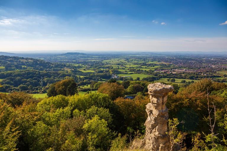 The Devil's Chimney at Leckhampton Hill overlooking Cheltenham, England