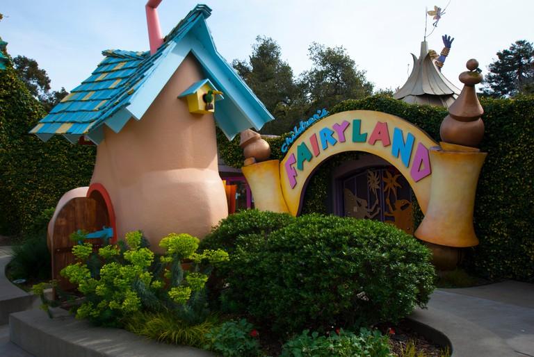 The entrance to Children's Fairyland, a fairy tale theme park near Lake Merritt in Oakland, California. Fairyland inspired Walt Disney's theme parks.