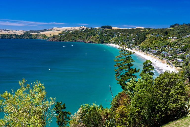 sandy beach view, Waiheke Island, New Zealand
