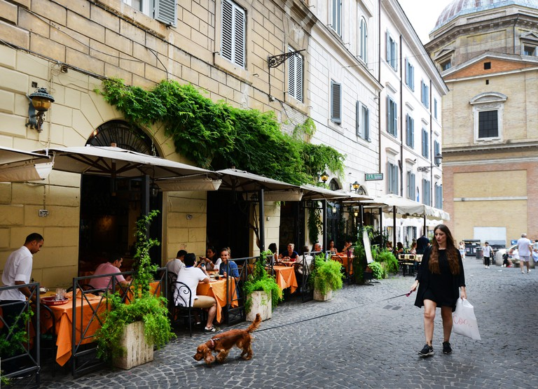 Cafes and restaurant on Piazza della Madonna dei Monti in Rome.