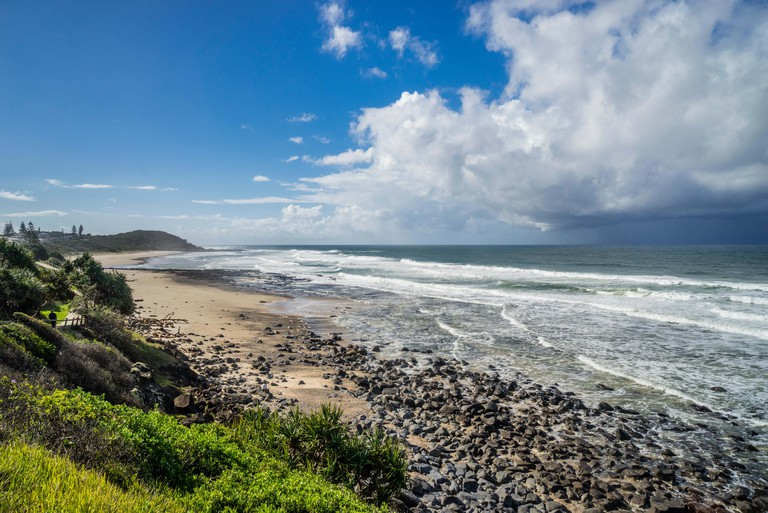 view of Shelly Beach from Ballina Head lookout, East Ballina, Northern Rivers region, New South Wales, Australia