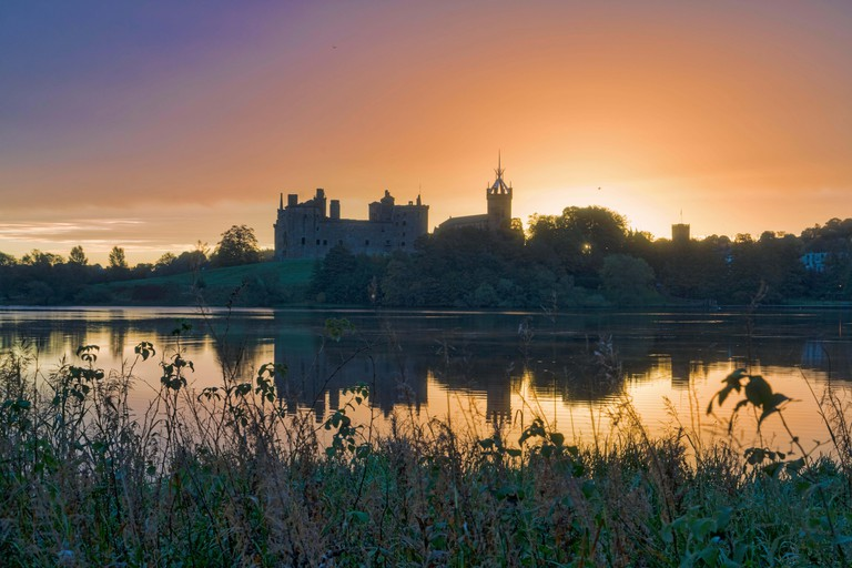 Sunrise, Linlithgow loch, peel, palace, West Lothian, Central Scotland UK.. Image shot 2018. Exact date unknown.