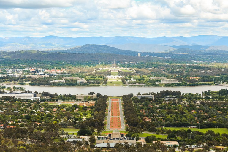 Canberra (Australia's capital) as seen from Mount Ainslie lookout with Australian parliament and Molonglo River (Canberra, Australia)