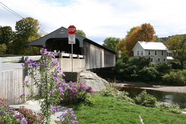 View of Waitsfield Covered Bridge (aka the Eddy Covered Bridge) crossing the Mad River, in Waitsfield, Vermont.