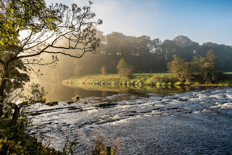 The River Ribble at Jumbles, below Hurst Green, Lancashire. This is on a walk known as the  Tolkien Trail.