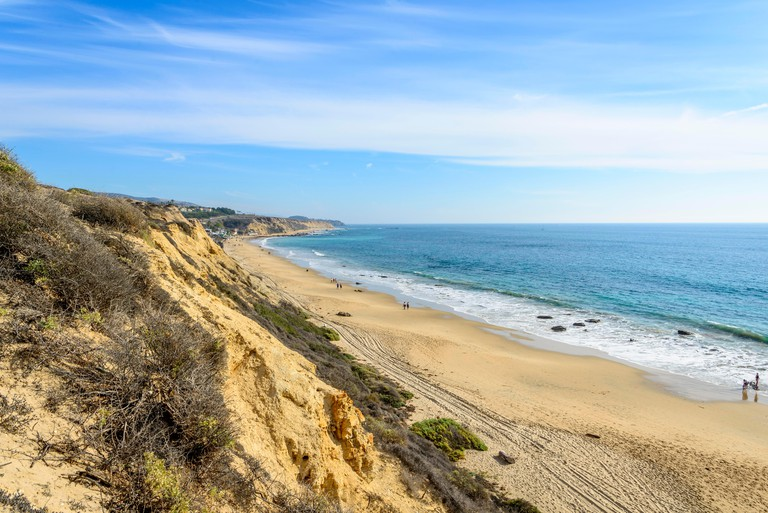 View of the sandy beach from Vista Point, Pelican Point, coastal reserve, Crystal Cove State Park, Orange County, California