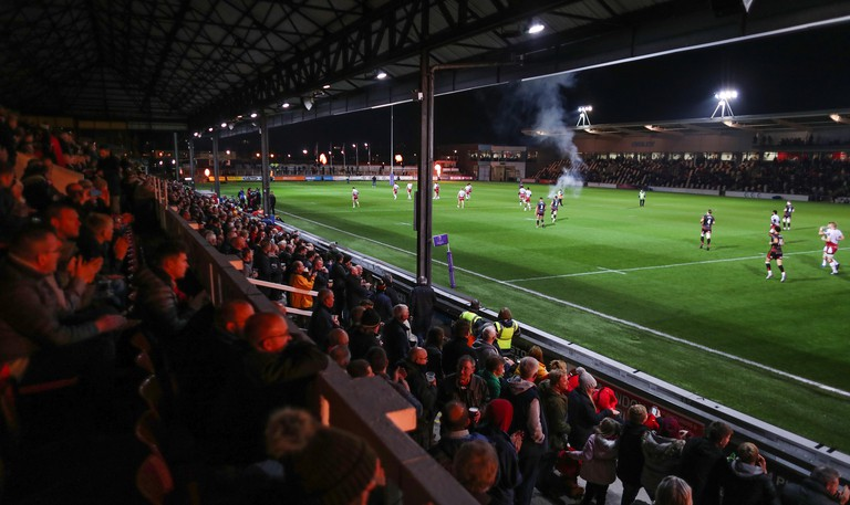 Dragons and the Saints take the field for the European Challenge Cup match at Rodney Parade, Newport.