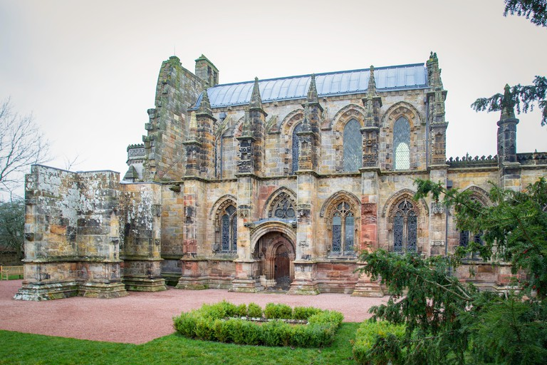 Rosslyn Chapel, a 15th century chapel located in the village of Roslin, Midlothian, Scotland.