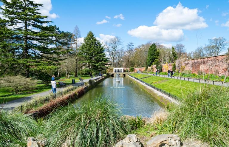 Overlooking Canal Gardens in Roundhay Park, Leeds, West Yorkshire, UK.