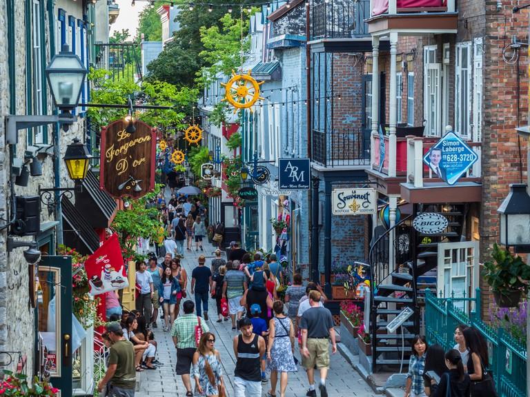 Rue du Petit-Champlain, Lower Vieux Quebec, Old Town, Quebec City, Canada.