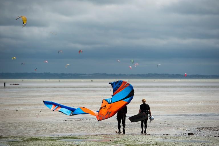 Kite surfing on East Beach, Shoeburyness, Essex