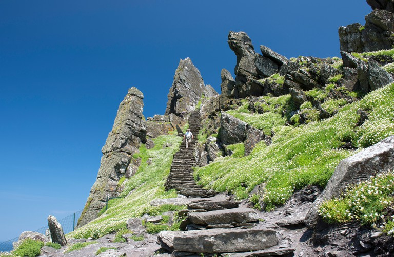 A lone visitor on the final few steps to the top of Skellig Michael or Great Skellig. Site of 6th to 8th Century Monastery