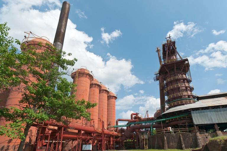 Alabama, Birmingham, Sloss Furnaces National Historic Landmark, built 1882 to produce pig iron