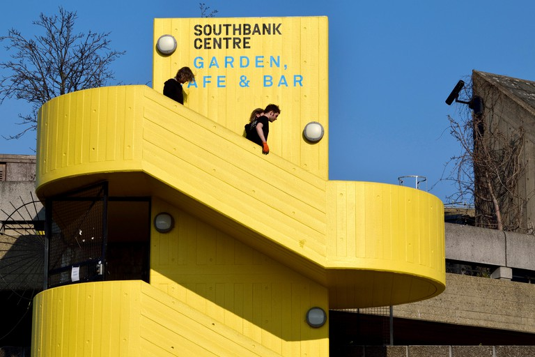 London, England, UK. Southbank Centre - yellow concrete steps up to the Garden, cafe and bar