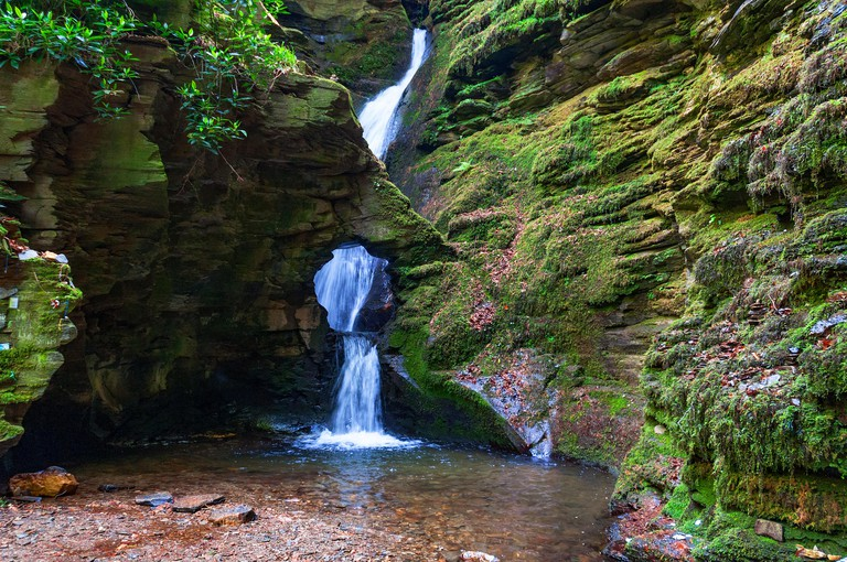 St.Nectans glen waterfall, Trethevey near Tintagel in Cornwall, England, UK